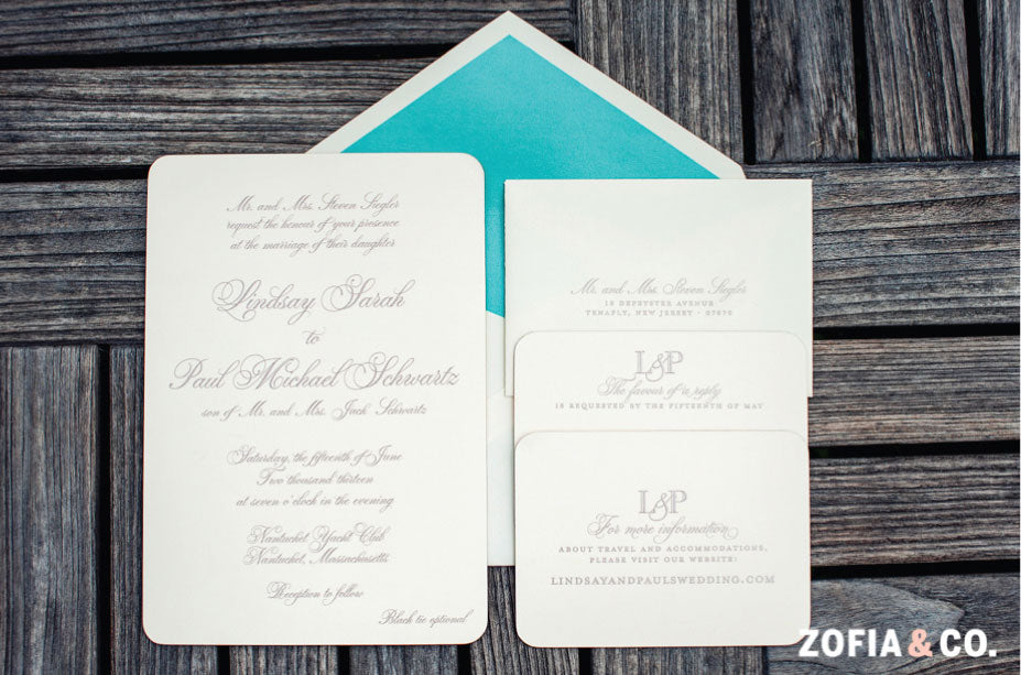 Custom Nantucket Wedding Invitaiton
