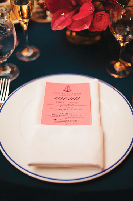 Nautical Wedding Reception Menu