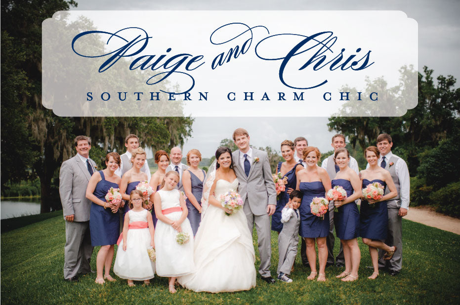 navy and coral southern wedding party