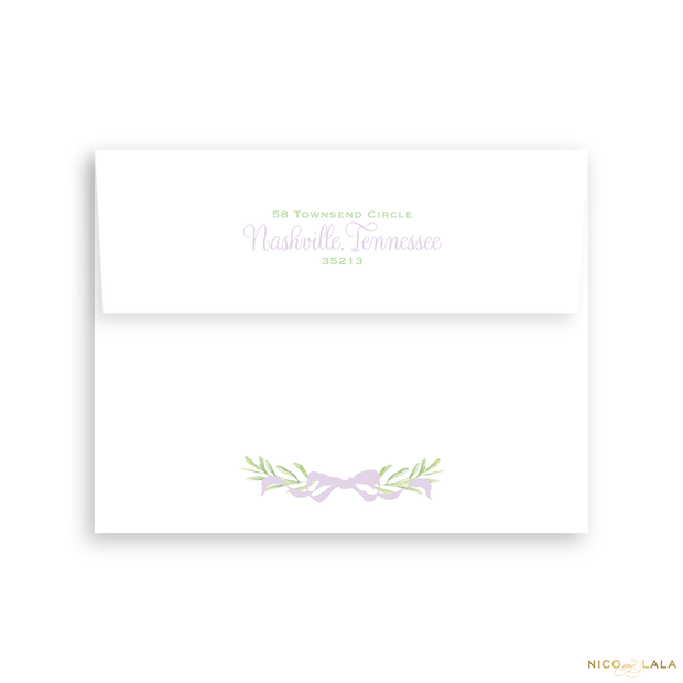 Wreath Birth Announcement Return Address Printing
