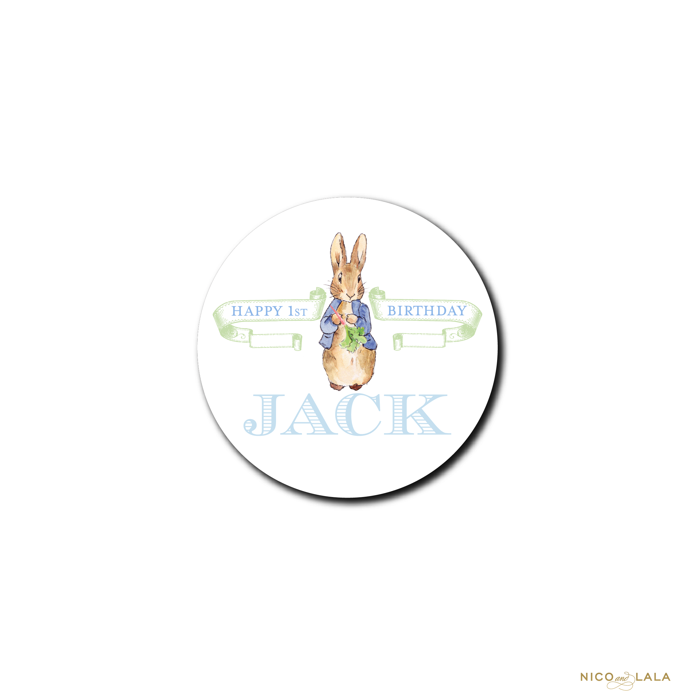 Boy Peter Rabbit Birthday Stickers