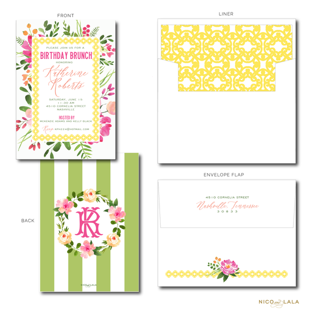 BRIGHT FLORAL WREATH INVITATIONS