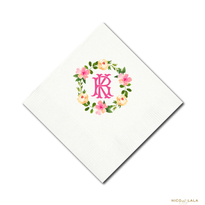BRGHT FLORAL WREATH NAPKINS