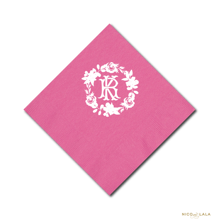 Bright Floral Wreath Party Napkins