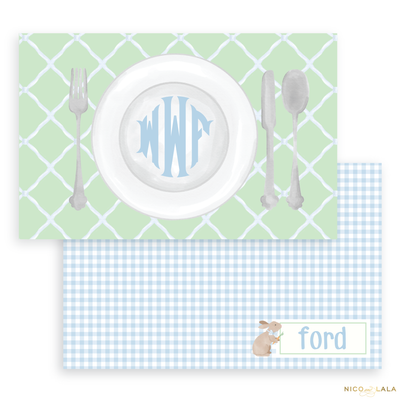 Bunny Laminated Placemat, Blue