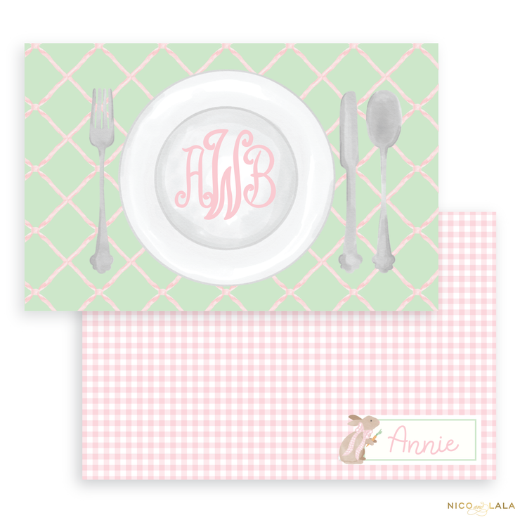 Bunny Laminated Placemat, Pink