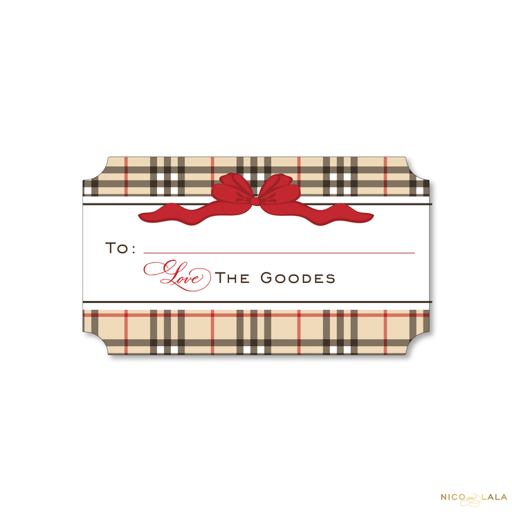 Plaid Christmas Gift Stickers