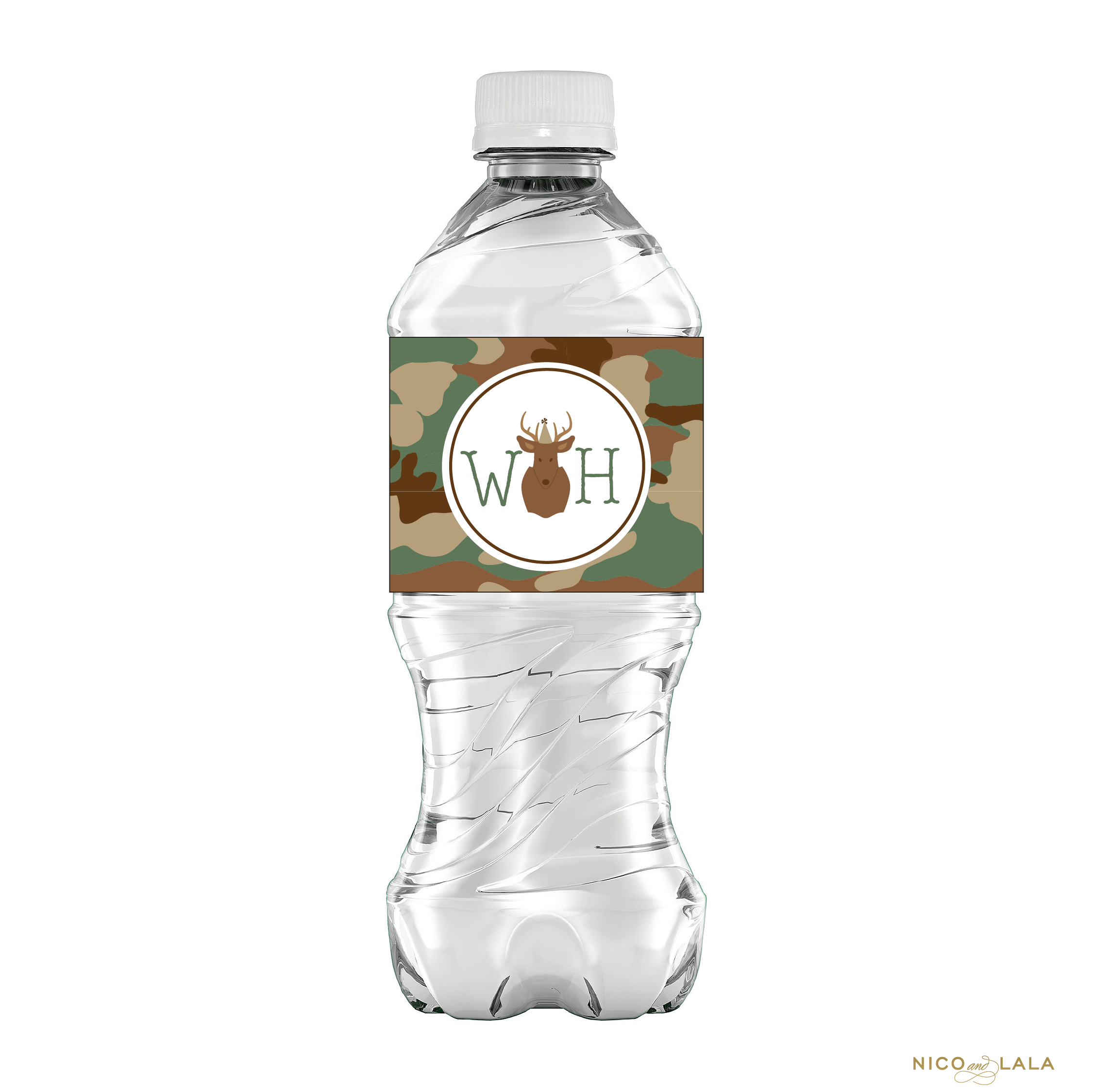 Camo Birthday Water Bottle Labels