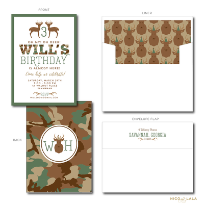 CAMO BIRTHDAY INVITATIONS