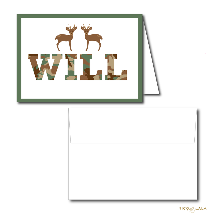 CAMO BIRTHDAY THANK YOU NOTES