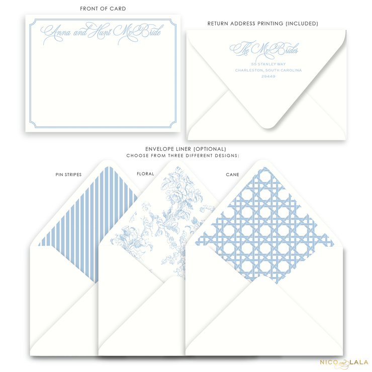 Charleston Flat Card Stationery with Name, French Blue