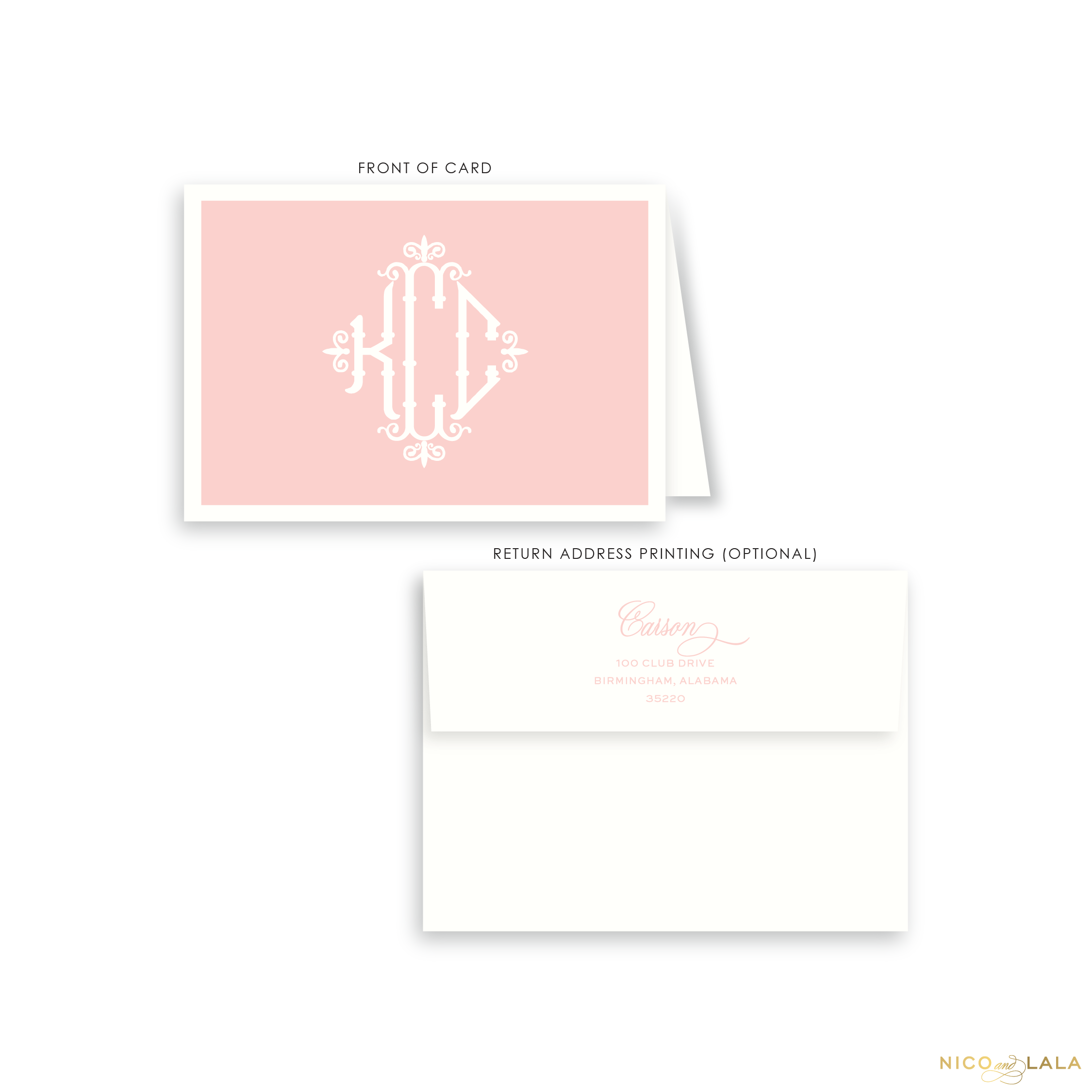 Charleston Monogram Folded Card Stationery, Pink
