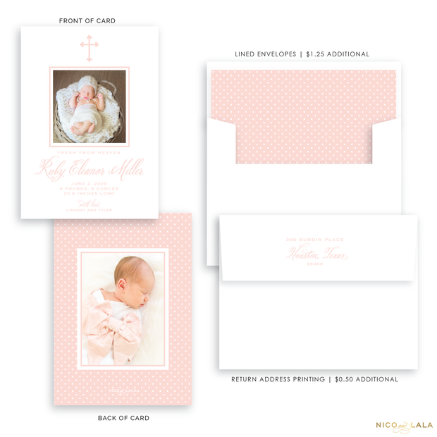 Cross Birth Announcement, Pink