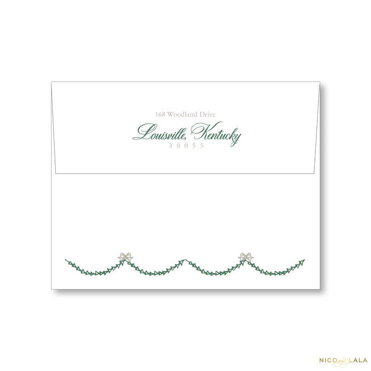 Decking New Halls Christmas Card Return Address Printing
