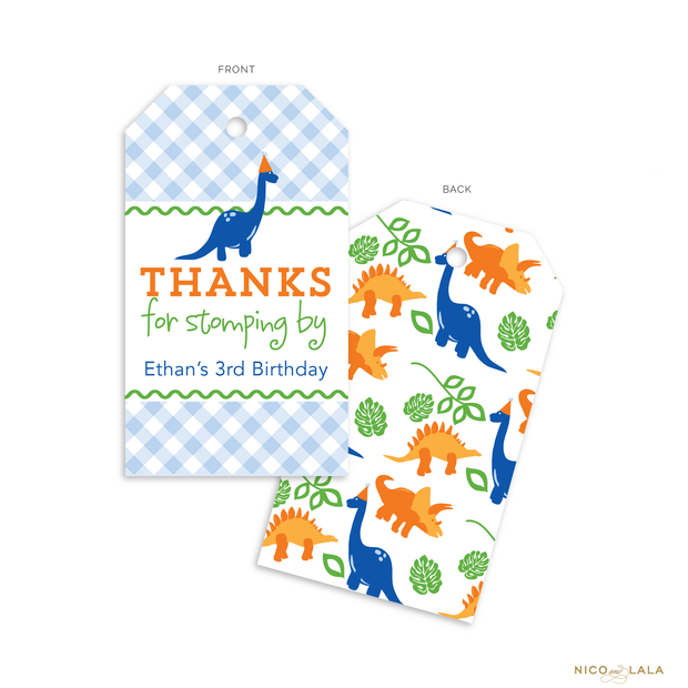 Dinosaur Birthday Favor Tags