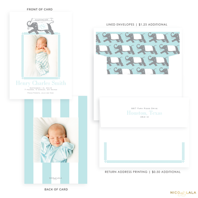 Elephant Birth Announcement, Blue