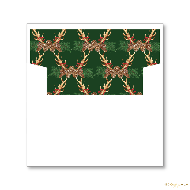 Festive Antlers Christmas Card Lined Envelopes