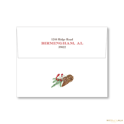 Festive Antlers Christmas Card Return Address Printing