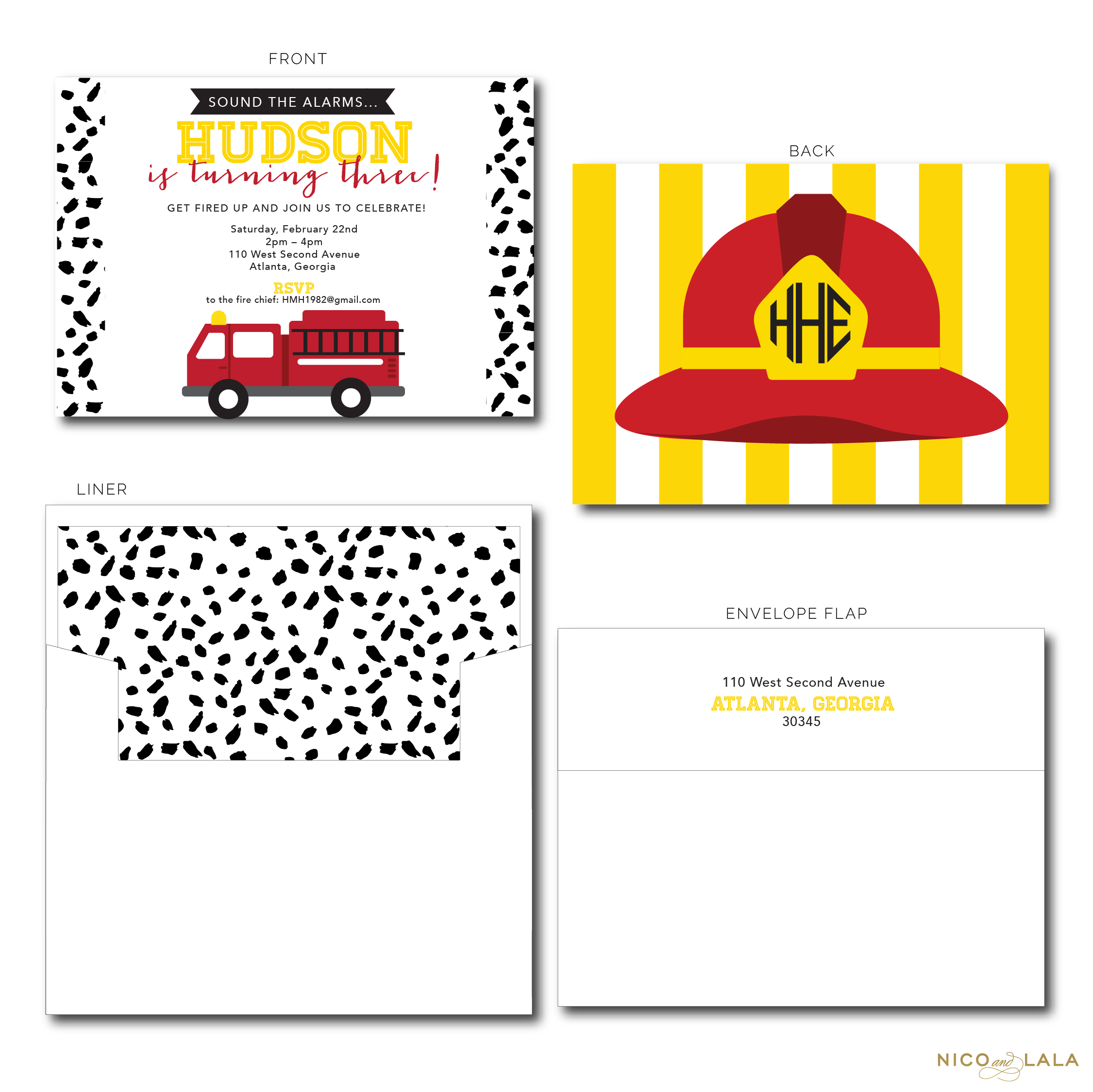 Fire Truck Birthday Invitations