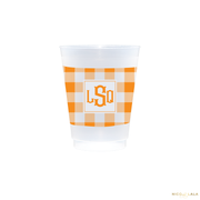 Fishtail Monogram with Gingham Wrapped Cups