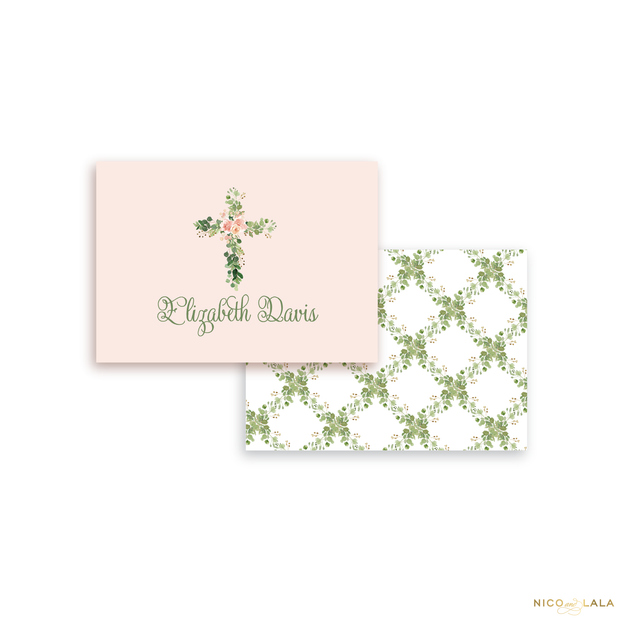 Floral Cross Calling Cards