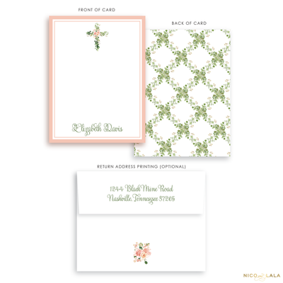 Floral Cross Stationery
