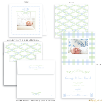 Garden Greenery Folded Birth Announcement, Blue and Green