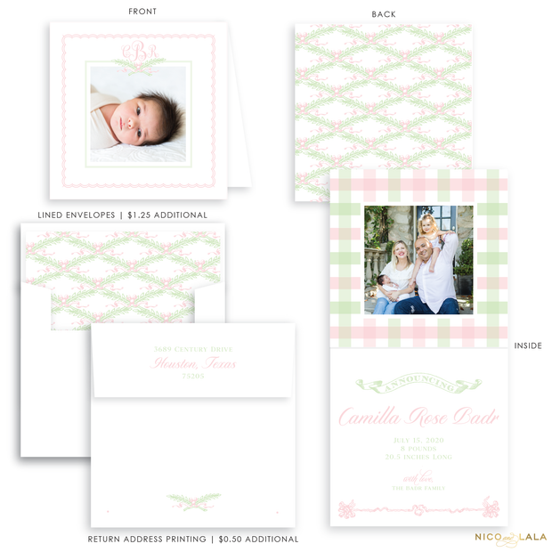 Garden Greenery Folded Birth Announcement, Pink and Green
