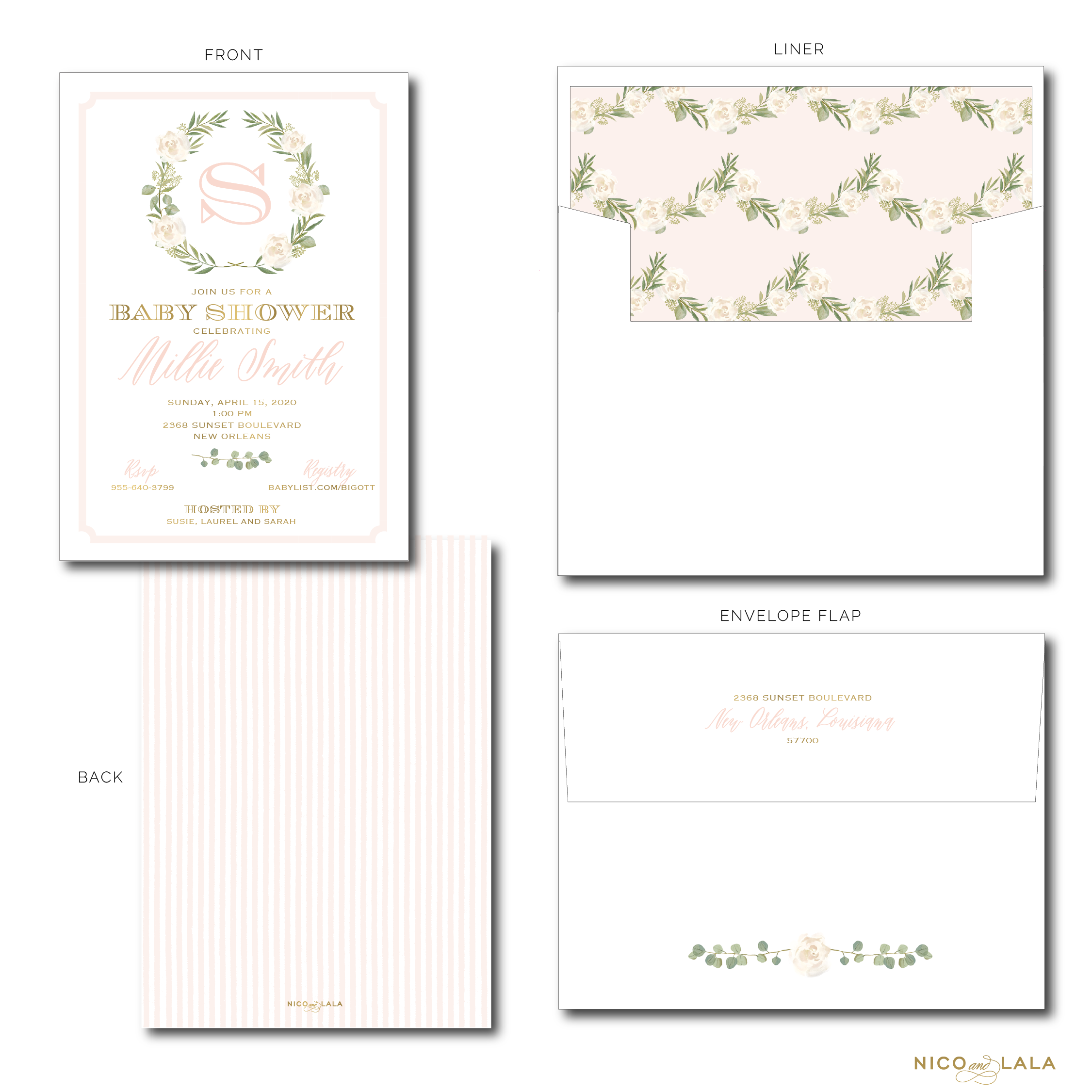 GARLAND AND SEERSUCKER INVITATIONS
