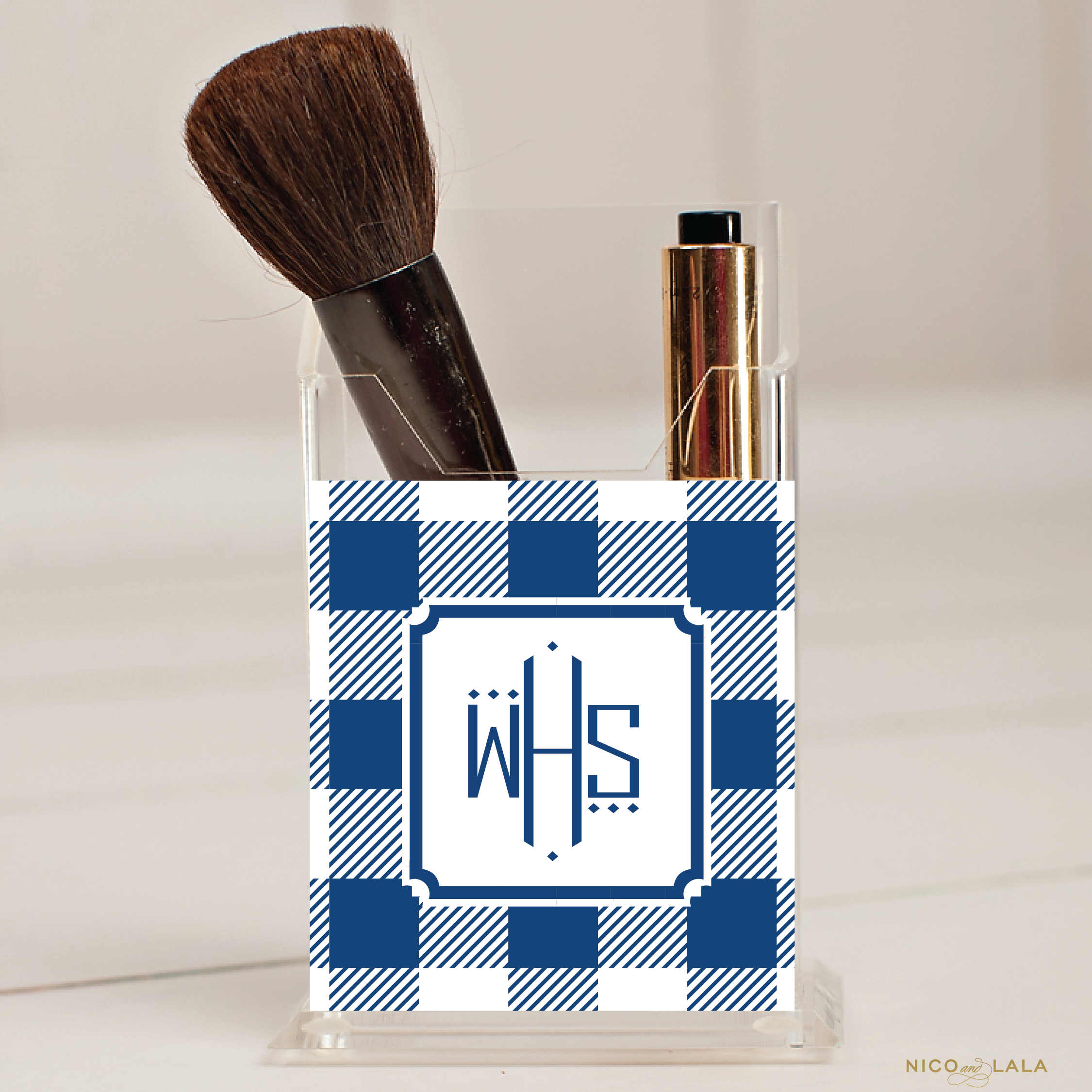 Gingham Pencil/Make Up Brush Holder