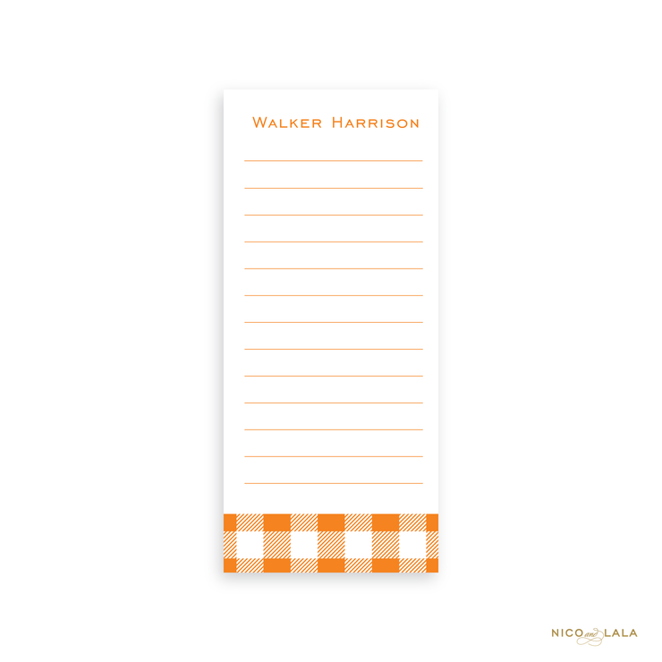 Gingham Skinny Notepad