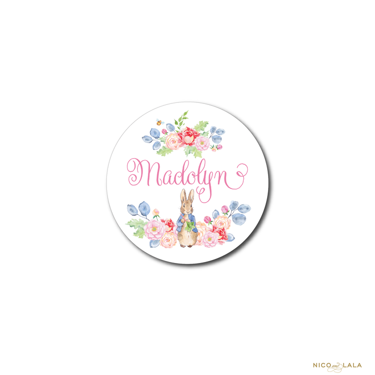 GIRL PETER RABBIT BIRTHDAY STICKERS