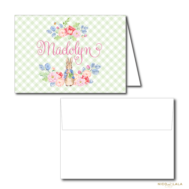 GIRL PETER RABBIT BIRTHDAY THANK YOU NOTES
