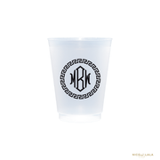 Greek Key Monogram Cups