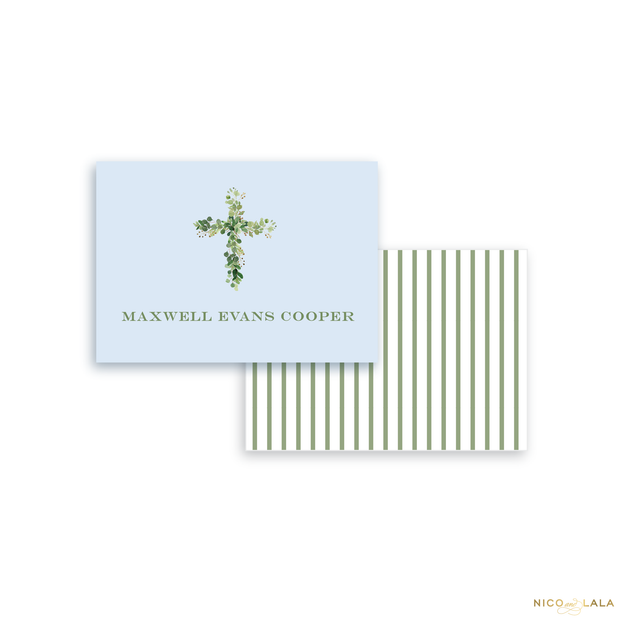 Greenery Cross Calling Cards