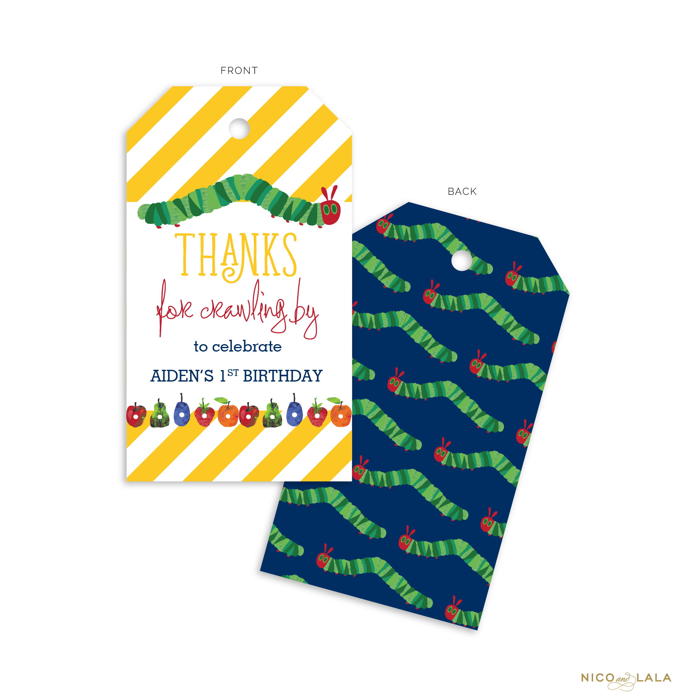 Hungry Caterpillar Birthday Favor Tags