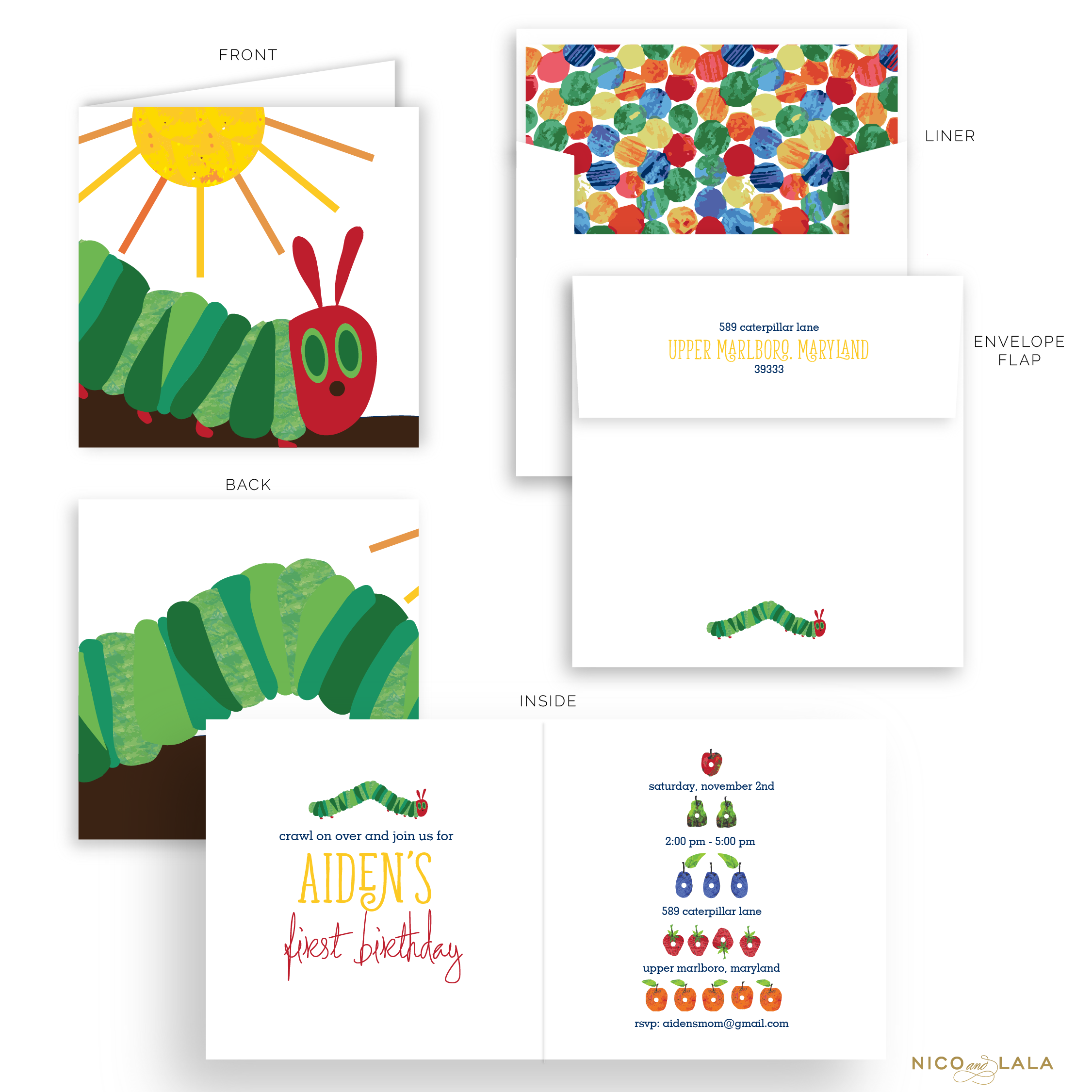 Hungry Caterpillar Birthday Invitations
