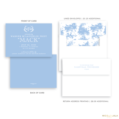 Hunting Toile Birth Announcement, Light Blue