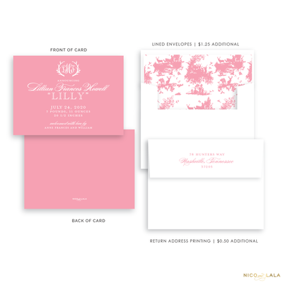 Hunting Toile Birth Announcement, Flamingo Pink