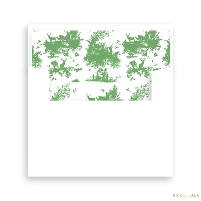 Hunting Toile Birth Announcement Lined Envelopes