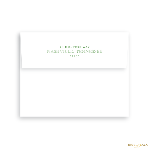 Hunting Toile Birth Announcement Return Address Printing