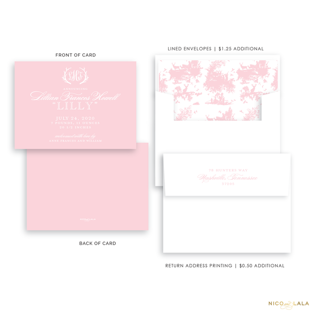 Hunting Toile Birth Announcement, Light Pink