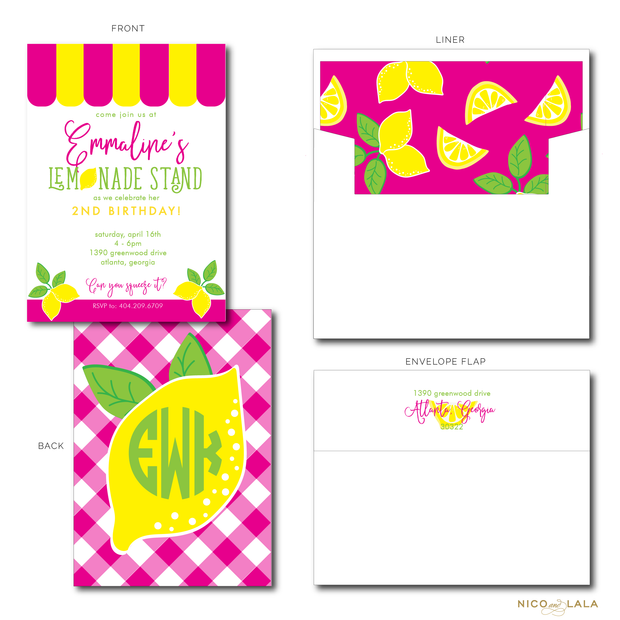 LEMONADE BIRTHDAY INVITATIONS
