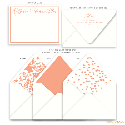Magnolia Flat Card Stationery with Name, Coral