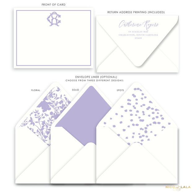 Magnolia Flat Card Stationery with Monogram, Lilac