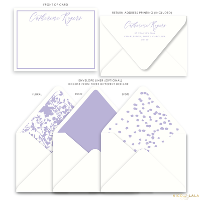 Magnolia Flat Card Stationery with Name, Lilac