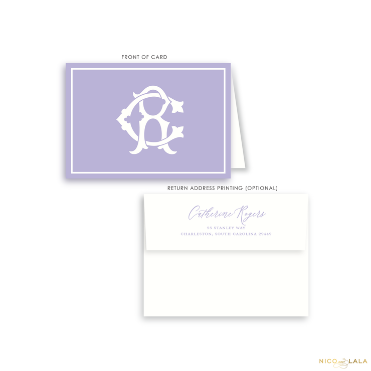 Magnolia Monogram Folded Card Stationery, Lilac