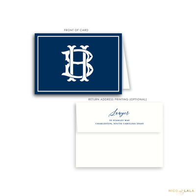 Magnolia Monogram Folded Card Stationery, Navy Blue