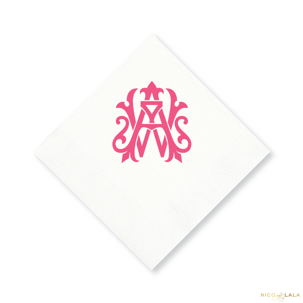 Magnolia Monogram Cocktail Napkins