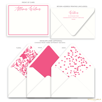 Magnolia Flat Card Stationery with Name, Berry Pink